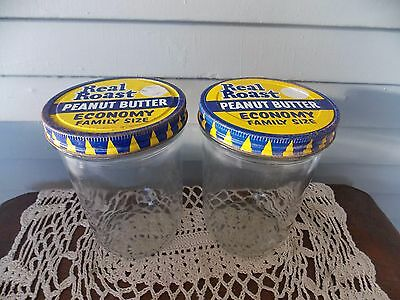 Set of 2 Vintage Real Roast Peanut Butter Containers with Ball Glass Jars