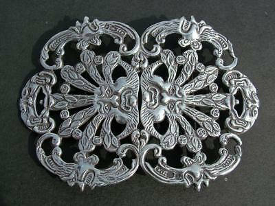 Solid Silver Antique 2 Part Tree Face Old Man Of Forest Nurse Buckle - Lot 22