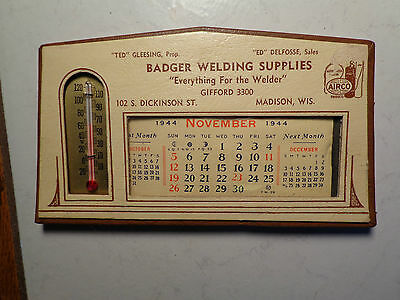 Calendar&thermometer Advertising,1944,badger Welding Supplies,vintage Airco Add