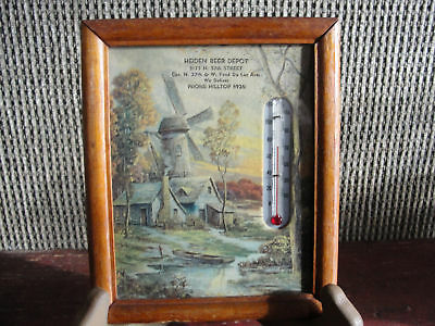 Windmill advertising thermometer,old,Heiden Beer Depot