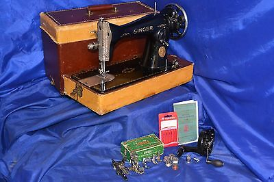 Singer 15-90 Sewing Machine New Handcrank Attachments Case Manual Serviced