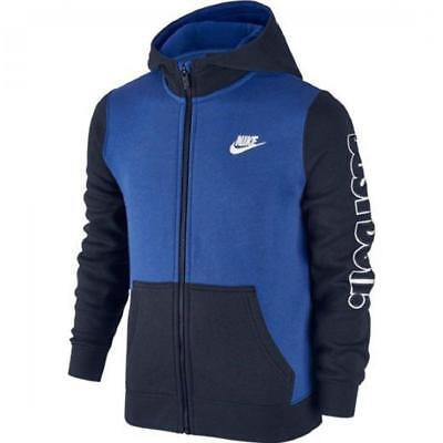 Boys' Nike Swoosh Fleece Full Zip Kids Sportswear Hoodie Blue Black 805501-480