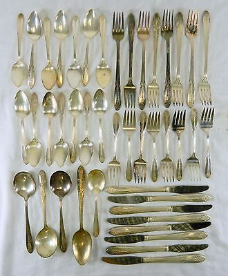 Vtg 1930 National Double Tested 43 Piece Flatware Set In Royal Princess Pattern