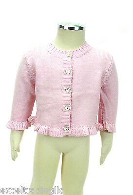 JACADI Girl/'s Brio Natural Button Up Ruffled Cardigan Sz 12 Months NWT $54