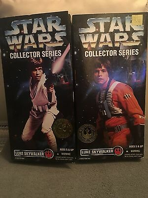 "2 Star Wars Collector Series Luke Skywalker 12"" Figurines New In Box"