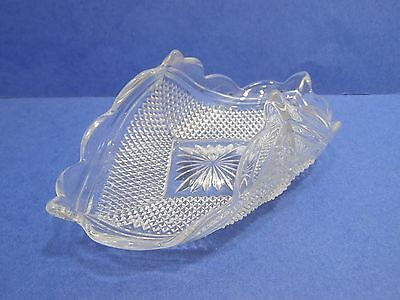 Vintage Glass Nappy Dish Unique Folded Shape Oblong Clear Diamond Point Star