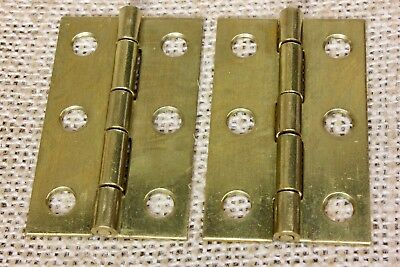 "2 Cabinet door hinges shutter solid brass 2 x 1 1/4"" jewelry box vintage NOS"