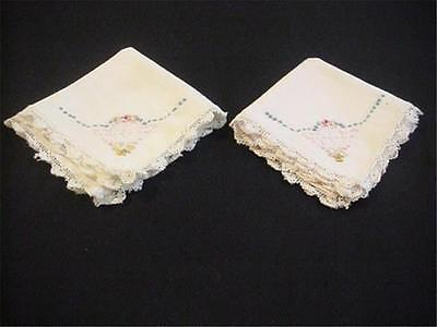 2 Vintage Small Napkins Embroidered Linen with Crochet Lace Trim TEA PARTY TIME!