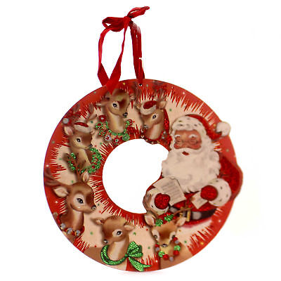 Christmas VINTAGE RED SANTA WREATH Wood Reindeer 32272