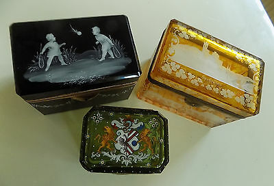 Lot of 3 glass jewelry or trinket boxes 19.Cent Biedermeier