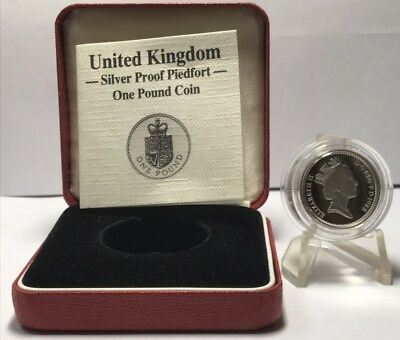 UK 1988 Royal Mint Silver Proof One Pound Coin W/Box & COA A