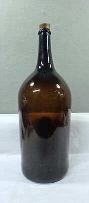 HUGE ANTIQUE 19th CENTURY AMBER BLOWN GLASS WINE ? BOTTLE WITH PONTIL