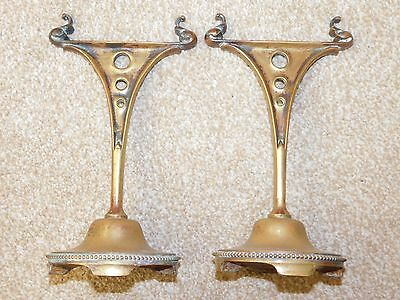 Pair Of Antique Brass Fire Dogs Poker Rests