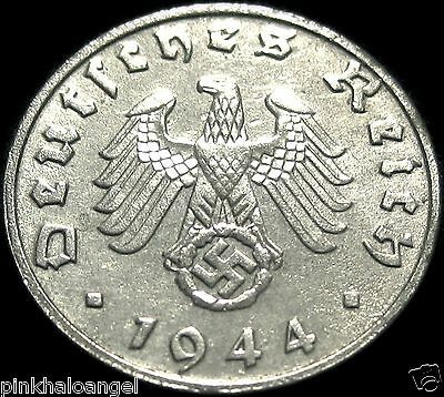 Germany - German 1944B Reichspfennig Coin - Rare 3rd Reich WW 2 Coin