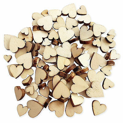 100pcs Mini Wooden Heart Embellishments for Wedding Scrapbooking Card Crafts