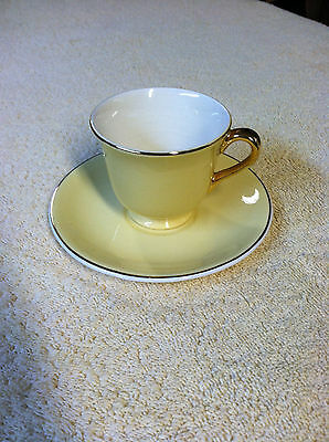 Vintage Steubenville Demitasse Tea Coffee Cup & Saucer - Canary Yellow Gold-Trim