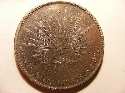 Mexico Silver 8 Reales, 1898-Go RS, XF, 27.1 Grams