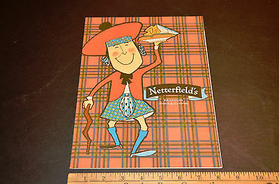 Vintage Restaurant Menu Netterfield's Famous Fish and Chips 1962