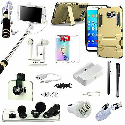 Case Cover+Monopod+Charger+Fish Eye Accessory Kit For Samsung Galaxy S6 Edge+
