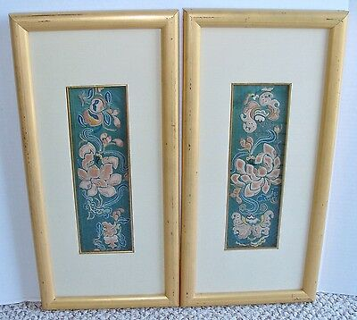 Pair Antique Chinese Forbidden Silk Embroidered Sleeve Bands Framed