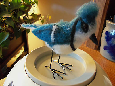 """FELT, HOME MADE - BLUE BIRD/ BOUGHT IN MISSOURI, 4"""" x 6"""" IN SIZE, 4 0Z. TO MAIL."""
