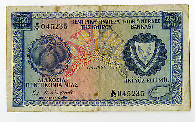 Cyprus. Central Bank of Cyprus 1969 250 Mils, P-41a Fine Small Stain
