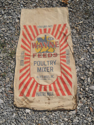 Vintage Wayne Feeds Poultry Mixer Feed Seed Sack-Double Sided-Chicago, IL