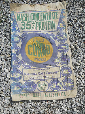 Vintage Corno Mash Concentrate Feed Seed Sack-Blue/Green-Double Sided Bag-Cloth