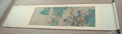 """82"""" Japanese CHINESE Hanging SILK SCROLL Painting- Landscape w Ships & Dam"""