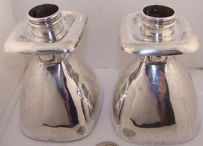 2 1940 William Spratling Mexico Mexican Taxco Sterling Silver Bell Candle Holder
