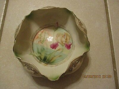 Vintage RS Germany Bowl Dish Candy Nuts Iris Folded Edges