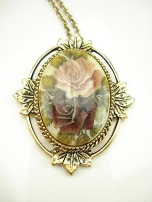 Vintage Sarah Coventry Gold Tone Floral Pendant And Necklace