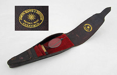 Antique English Spectacle Eye Glass leather case - Mappin Bros Sheffield 1890s