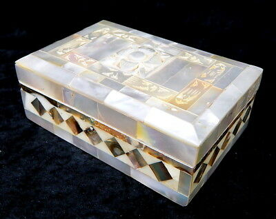 Vintage Abalone Shell Mother Of Pearl Carved Jewelry Trinket Keepsake Box Italy