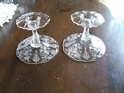 """Cambridge Rose Point 5"""" pair of candlesticks #3900/68-inverts to compotes"""