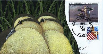 #RW62 1995 Duck Stamp Curtiss Poormon hand painted cachet 45 produced FDC