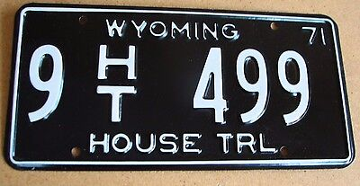 "Wyoming 1971  House Trailer  License Plate  "" 9  Ht 499 "" Wy 71 Trl  Mint"