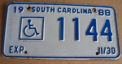 """South Carolina 1988 License Plate """" 1144 """" Handicapped Disabled Wheelchair"""