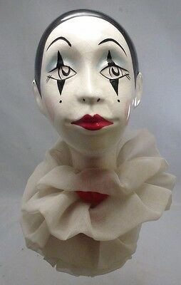 Original french doll head hat stand 20s vintage antique pierrot harlequin clown
