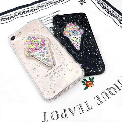 3D Sequins Glitter ice cream Soft TPU phone case for iPhone 6 6S 7 7 Plus New