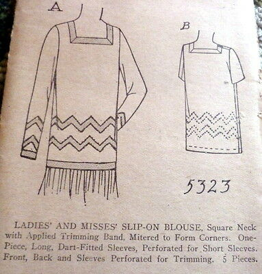 RARE VTG 1920s BLOUSE Sewing Pattern BUST 36 OLD DEADSTOCK