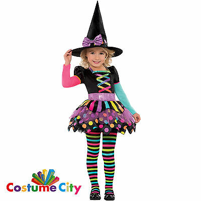 Childs Girl Toddler Pretty Miss Matched Neon Witch Fancy Dress Halloween Costume