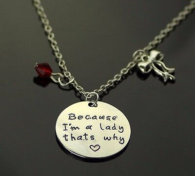 Because I'm A Lady Thats Why Quote Charms Necklace Aristocats Marie Inspired