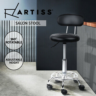Salon Stool Round PU Swivel Chair Backrest Barber Hairdressing Hydraulic Height
