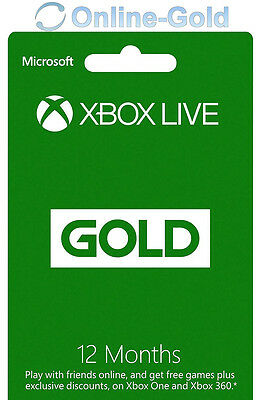 12 Month Xbox LIVE Gold Membership Code - Microsoft 360/ONE S Subscription - AU