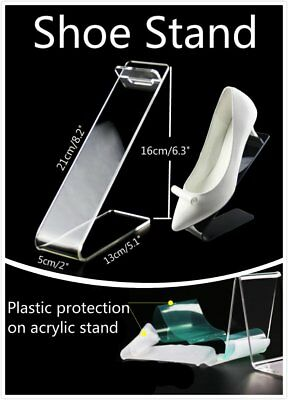 2x L 16cm Height Protective Clear Acrylic Display Stand Shoes Retail Rack Holder