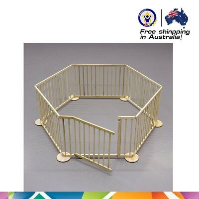 Baby Kids Toddler Deluxe Wooden Playpen Divider Safety Gate 6 Panel