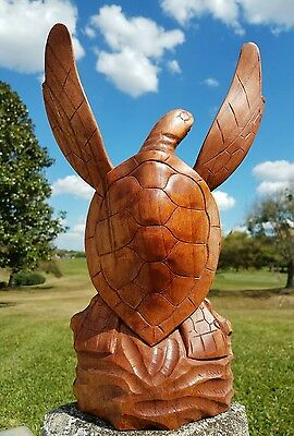 Gorgeous Handcarved Mahogany Wood Turtle Statue With Removable Fins!