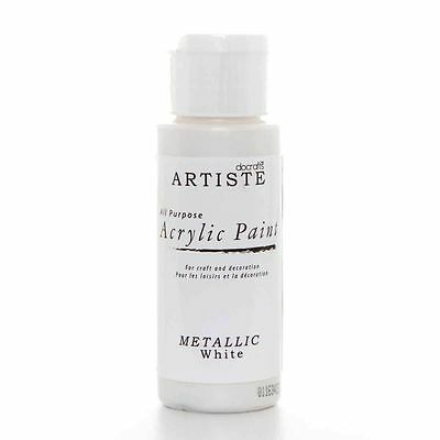 DoCrafts Artiste White Metallic Acrylic Craft Paint - 59ml