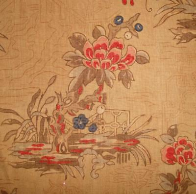 BEAUTIFUL EARLY 19th CENTURY FRENCH BLOCK PRINT LINEN CHINOISERIE, BUTTERFLIES